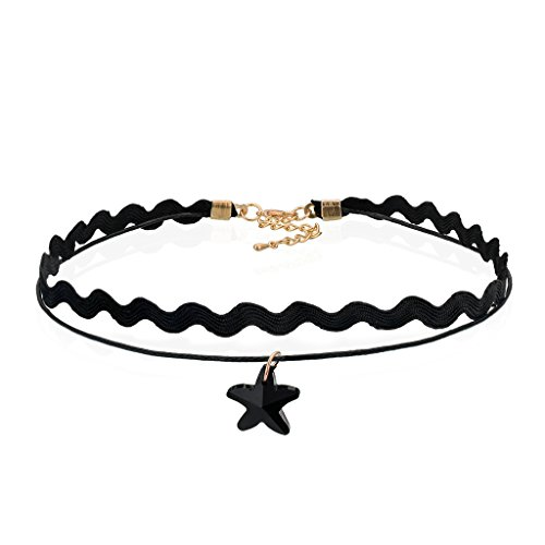 Pentagram Choker Collar Necklaces With Pendant Black Water Wave Lace Leather Layered For Women