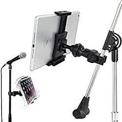 AccessoryBasics QuickLock Microphone Music Mic Stand Pole bar mount for Apple ipad Pro Air Mini Galaxy Tab S Note S7 S6 LG G5 G4 v10 HTC ONE iPhone 6s Plus 6 se *use with all 7-12 tablet & Smartphones