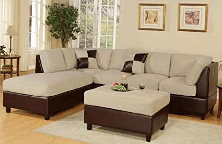 3 Pcs Sectional Sofa in Mushroom Color with Free Ottoman and Pillows Microfiber and Dark Brown Faux Leather Reversible Right / Left Sectional Sofa Couch (Mushroom)