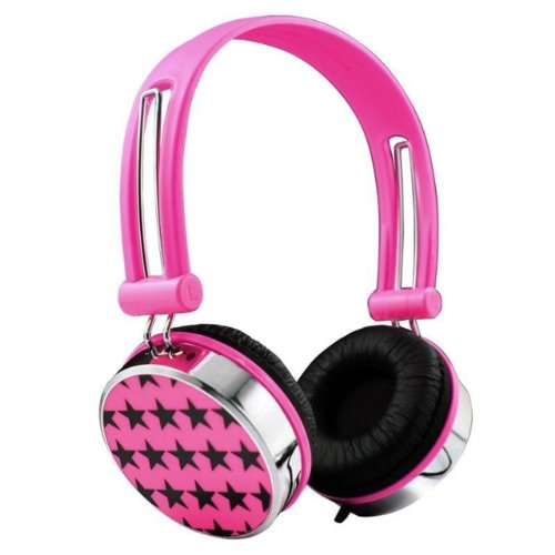 Nuoya001 Stars Childrens Kids Teens Over The Head Dj Headphones Ipod Touch 5 Mp4 Tv /Pink