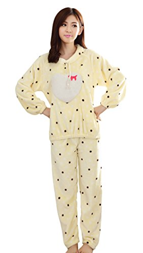 Tonwhar Women'S Girls' Cozy Flannel Pajamas Sets Winter Home Wear (Asian L (Us M), Yellow) front-131504