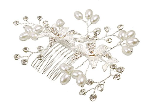 Wedding Pearls Flower Blossoms Rhinestones Decorative Hair Comb lnrrabc women elastic hair bands hair accessories big flower hair rope rhinestones imitation pearls charms rubber band headwear