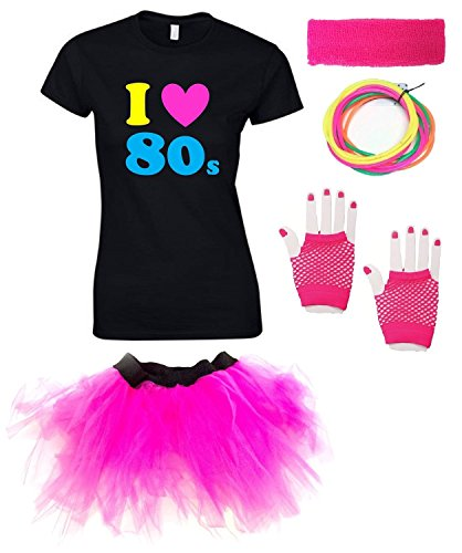 I LOVE THE 80s Ladies Outfit with T-shirt - Sizes from 8 to 16