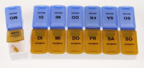 Pilulier 7 jours avec côté bleu pour le soir et orange pour le matin de qualité Tiga-Med