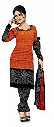 Fashions World Fancy Orange and Black Georgette Dress Material