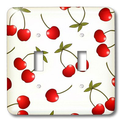 3dRose LLC lsp_24731_2 Cherry Print Juicy Red Cherries On White, Double Toggle Switch