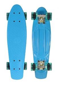 Ridge Skateboard 69 cm 27 Inch Nickel Cruiser Retro Stil M Rollen Komplett Fertig Montiert, Pb-27-Blue-Clearblue