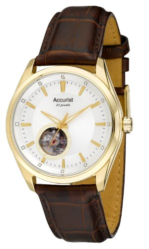 Accurist Pure Precision Men's Automatic Watch with Silver Dial Analogue Display and Brown Leather Strap MS906S