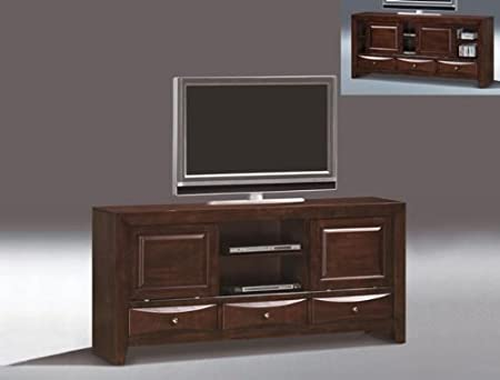 Emily dark brown finish wood TV entertainment console with media drawers