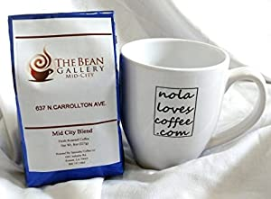 Gourmet Coffee Locally Roasted in New Orleans From The Bean Gallery with Ceramic Mug/Travel Tumbler Gift Set - Whole Bean 8 oz