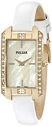 Pulsar Women's PRW010 Gold-Tone Swarovski Crystal Watch With Leather Band