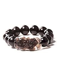 Merdia Natural 14mm Ice Obsidian Pixiu Bracelet with Ice Rainbow Eye Effect Grounding Stone Protection