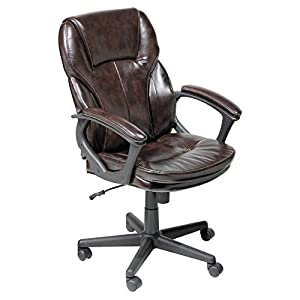 Serta Puresoft Faux Leather Managers Office Chair - Roasted Chestnut Brown