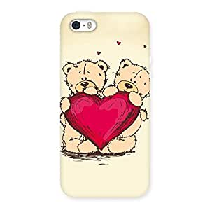 Luxirious Cute Heart Twin Teddy Back Case Cover for iPhone SE