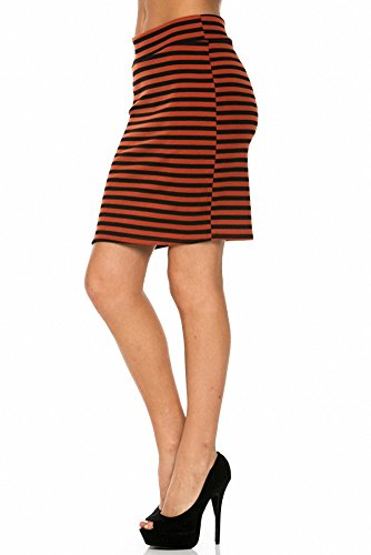 Sassy Apparel Women's Elastic Above Knee Stripes Design Pencil Skirt (Small, Rust)