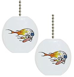 Set of 2 Flaming Skull Ceramic Fan Pulls