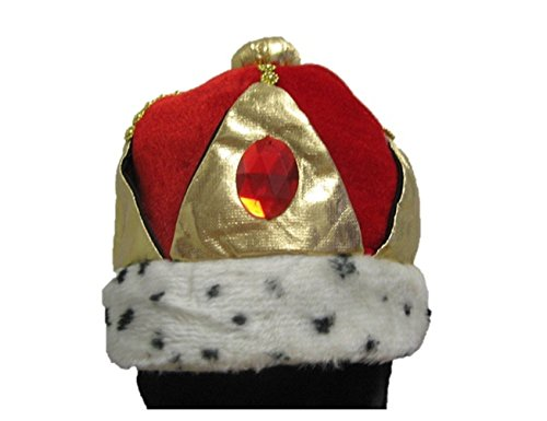 Forum Royal King Costume Mardi Gras Red Velvet Crown Hat CLOSEOUT