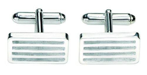 Fred Bennett Sterling Silver Mens Rect Cufflink Cut Out Lines V337