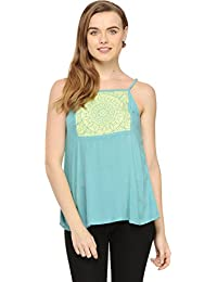 Blue Strappy Top With Embroidery On Contrast Yoke available at Amazon for Rs.424