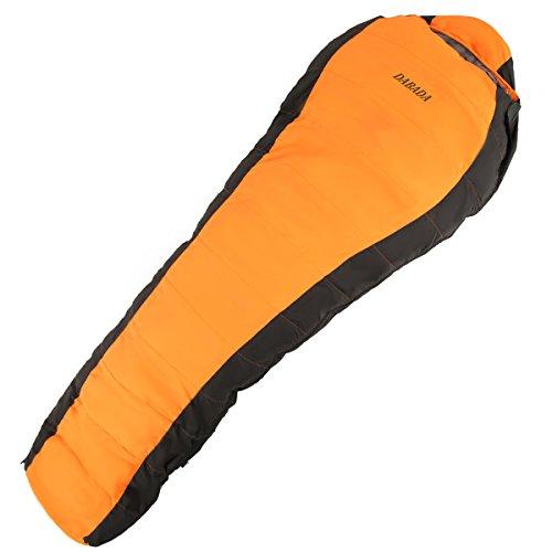 ダバダ 高級ダウン 寝袋 マミー型 シュラフ スリーピングバック [最低使用温度-25度](オレンジ)
