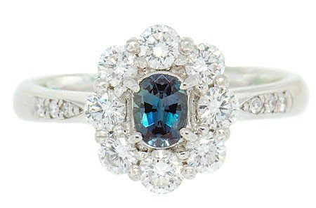 Natural Delicate Real GEM Alexandrite and Diamond Cluster Ring in Platinum
