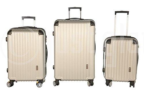 Trolley valigia set valigie rigide set bagagli in policarbonato abs con freni e portabottiglie super leggeri 4 ruote piroettanti trolley piccolo adatta per cabina con compagnie lowcost art 688 / champagne