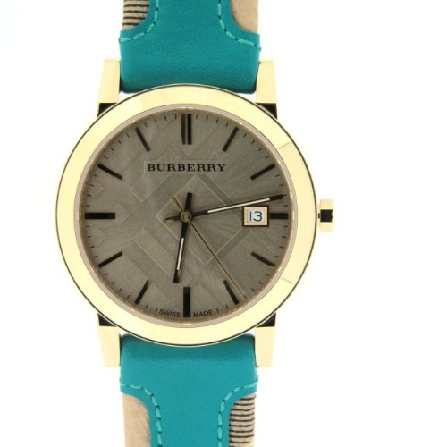 Burberry Check Authentic Turquoise Leather Watch BU9018 Unisex Women's Men's Beige Date Dial