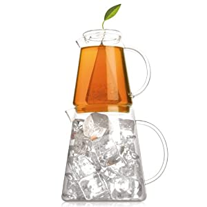 Tea forte tea over ice iced tea brewing pitchers tea strainers kitchen dining - Heat resistant glass pitcher ...