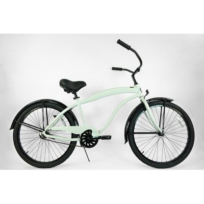 Men's Single Speed Aluminum Beach Cruiser Frame Color: White with Black