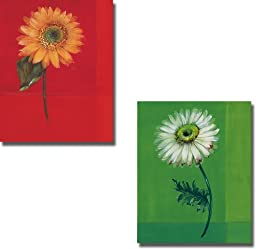 Flower on Red & Flower on Green by Paul Hargittai 2-pc Premium Stretched Canvas Set (Ready to Hang)