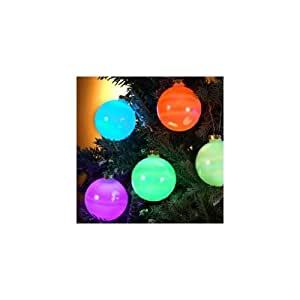 Set of 6 Color-Changing LED Glass Ball Ornament Christmas Lights - Green Wire
