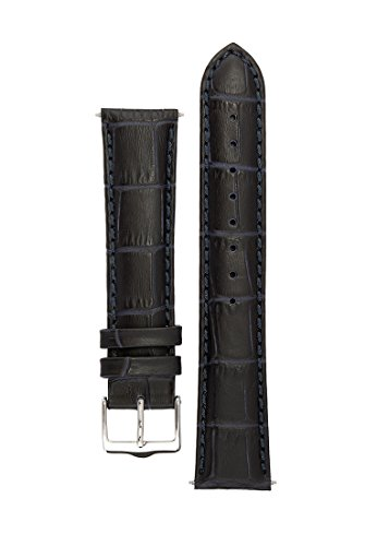 Signature Senator in blue 18 mm watch band. Replacement watch strap. Genuine Leather. Silver buckle. Limited time SALE 50% (Jacob And Co Watch Band compare prices)