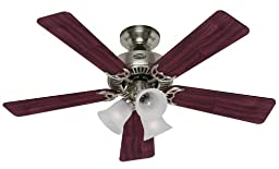 Hunter 20175 Southern Breeze 42-Inch 5-Blade 3-Light Ceiling Fan, Brushed Nickel with Cherry/Maple Blades and Frosted Ribbed Glass Shades