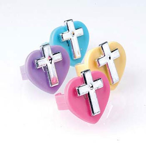Lot Of 12 Assorted Color Heart Silver Christian Religious Cross Adjustable Rings