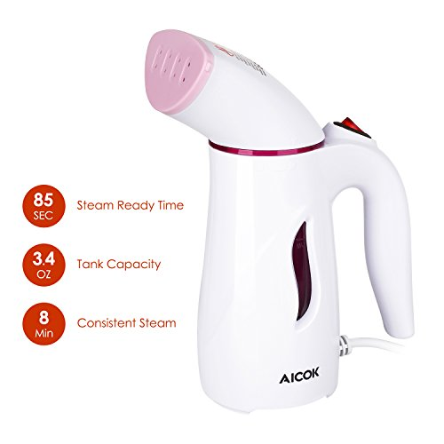 Aicok Mini Travel Garment Steamer, Handheld Portable Fabric Steamer Perfect for Travel, with Brush and Travel Pouch, Pink