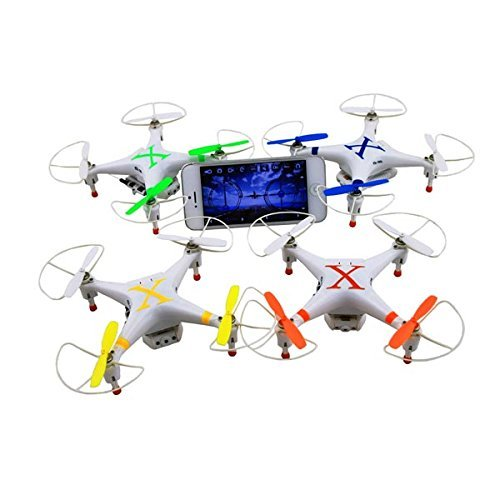 Amazing 6 Axis gyro 4 channel 6 inch FPV (First Person View) quad operated and viewed with Iphone or I pad with full flip capability and capable of outdoors flying has lights for night flying (color m