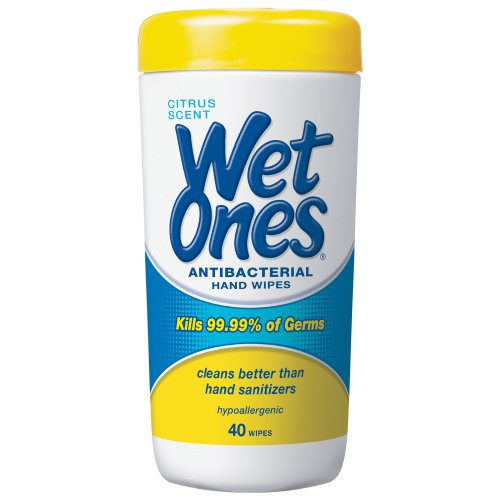 Wet Ones Citrus Antibacterial Hand And Face Wipes Canister, 40 Count front-1075061