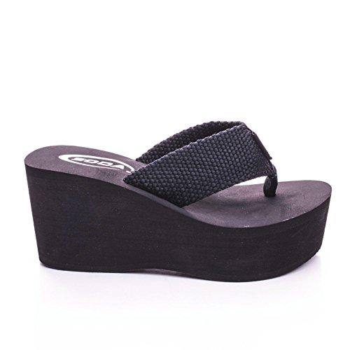 Soda Womens Sandals Wedge EVA Platform Heels Flip Flops Black White OXLEY-S (Black 6.5) (Sandals By Soda compare prices)
