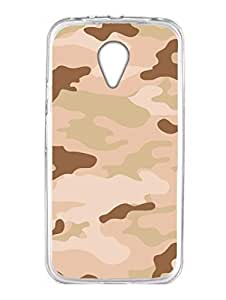 Camouflage - Indian Army Desert - Uniform - 2D Glossy HARD Back Case Cover for Moto G2 - Transparent Sides - HD Printed Cases and Covers
