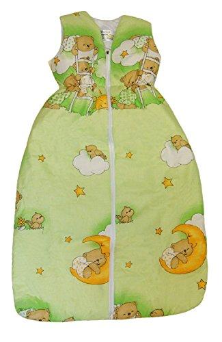 DAS ORIGINAL BOMIO® Baby Winter-Schlafsack, Öko-Tex Standard 100, (Bärchen (Grün), 90 cm (6-18 Monate))
