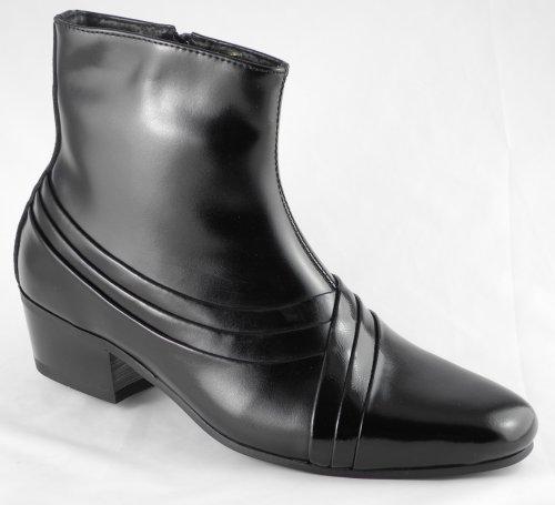 Mens Pierre Cardin Black Leather Cuban Heels Boots Size 6 7 8 9 10 11 12