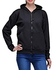Scott Women's Premium Cotton Pullover Hoodie Sweatshirt With Zip - Black