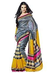 Infigo Women Multicolor Tussar Silk Printed Saree