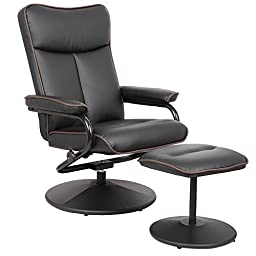 Merax Swivel Office Home Garden Modern Recliner Chair With Ottoman, Black Bonded Leather Match