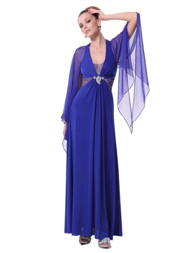 Ever Pretty V-neck Open Back Halterneck Maxi Evening Dress 09809, HE09809SB10, Sapphire Blue, 8US