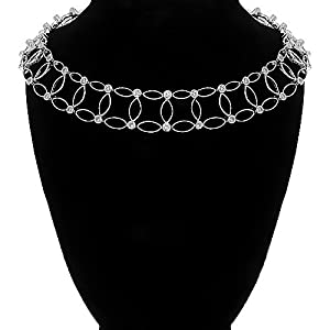 18K White Gold Womens Diamond Choker Necklace 1.46 Ctw