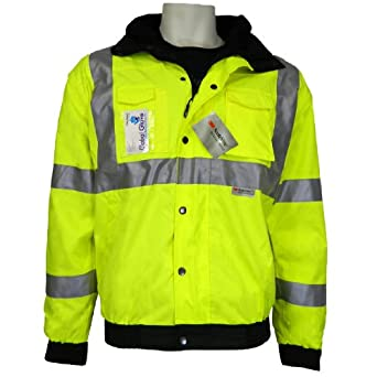 Global Glove GLO-B1 FrogWear Lightweight Polyurethane High Visibility Class 3 Bomber 5 in 1 Winter Jacket with 3M Scotchlite Reflective, 3X-Large (Case of 12)