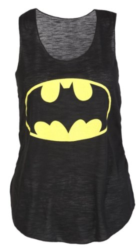 Crazy Girls easybiz donna saffico elbenwald Superman Comic Logo Vest Boy canottierina (S/M (EU36-38/UK8-10), Batman Nero)