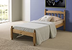3ft Single Solid Pine Wooden Bed Bedstead - Waxed Pine Finish (Made from High Quality Brazilian Sustainable Pine)