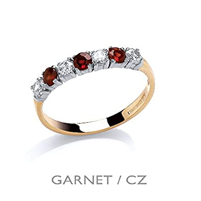 9ct Yellow Gold Real Garnet and Cubic Zirconia Eternity Ring - British Made - Sizes L - R